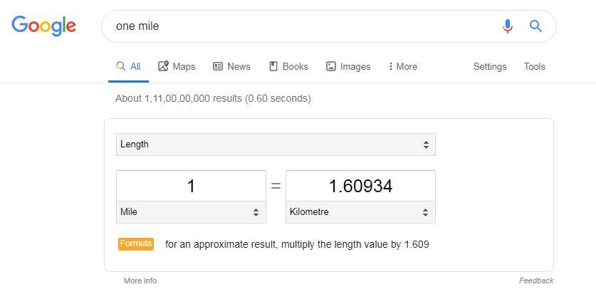 Google Search Miles conversion