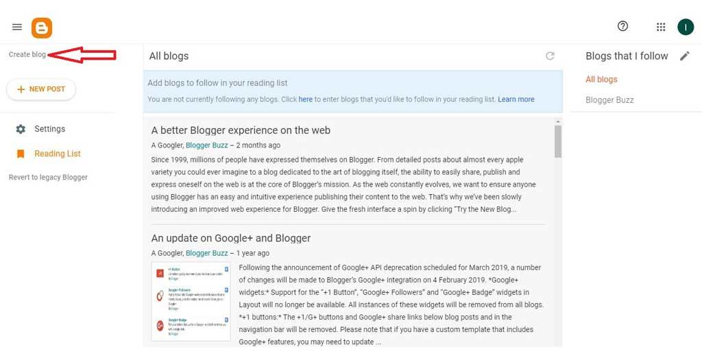 Create a Blog on Blogger.com